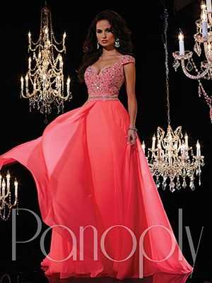 Prom Pageant Dresses 14613 Cap sleeve beaded top with a chiffon skirt.