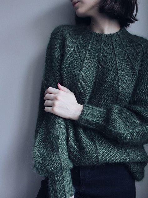 Ravelry: Forest Vibes Sweater pattern by Masha Zyablikova Diy Fashion, Ideias Fashion, Autumn Fashion, How To Purl Knit, Free Knitting, Knitting Sweaters, Knitting Machine, Wool Sweaters, Knit Patterns