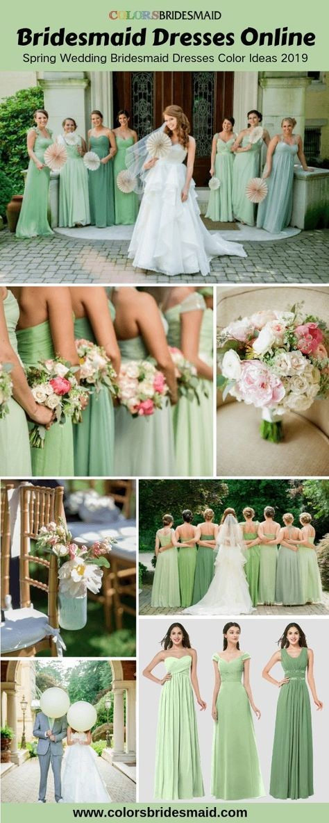 Spring wedding bridesmaid dresses online for sale 2019, different shades of green colors, great with wedding bouquets and table decorations in pink hues. #colsbm #bridesmaids #greendress #weddingideas #greenwedding b1057