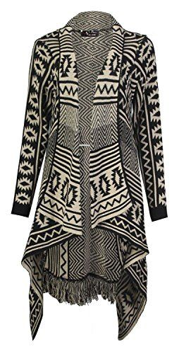 Women Long Sleeve Front Open Aztec Winter Jumper Top Ladies Knitted Cardigan Lot