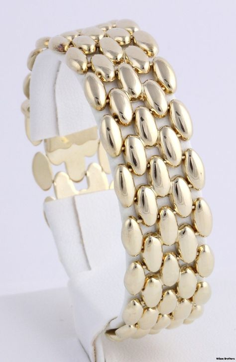 Wide Gold Link Statement Bracelet - 14k Polished Yellow Gold 29+g   eBay