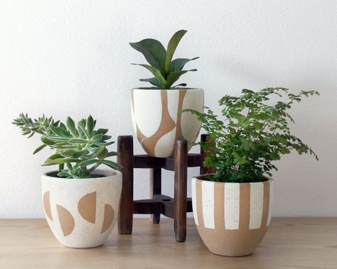 Moon Terracotta Pot | Hand Painted Planter with Drainage