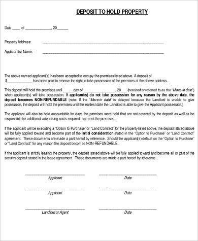 Holding Deposit Agreement Template Rental Agreement Templates Templates Deposit