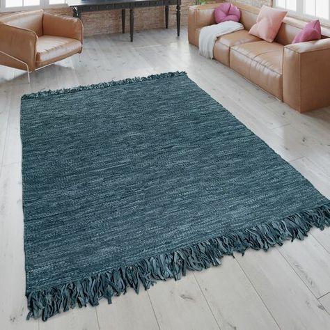 Handgefertigter Flachgewebe Teppich Krysta In Blau 17 Stories