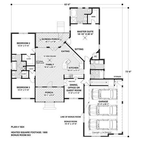 TheHouseDesigners-7675 Craftsman House Plan with Crawl Space Foundation (5 Printed Sets) - Walmart.com