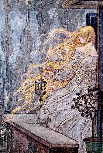 Florence Susan Harrison (English Art Nouveau and Pre-Raphaelite illustrator) 1877 - 1955 Illustration to the poem 'Rapunzel' from: Early Poems of William Morris. Art And Illustration, Fairy Tale Illustrations, Botanical Illustration, Fantasy Kunst, Fantasy Art, Illustrator, Classic Fairy Tales, Brothers Grimm, Fairytale Art