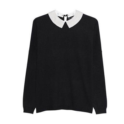 d1b4ff2669da STEFFEN SCHRAUT Bubi Collar Pearls Black    Fine knit pullover with ...