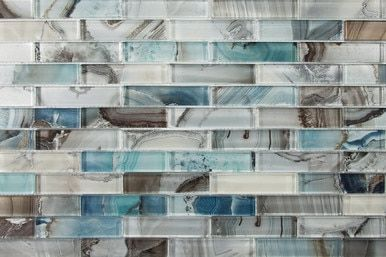 Lungarno Gypsea Series 1inx4in 12x12 Mesh Mount Sheet Midas Tile Bathroom Linear Glass Tile Mosaic Glass