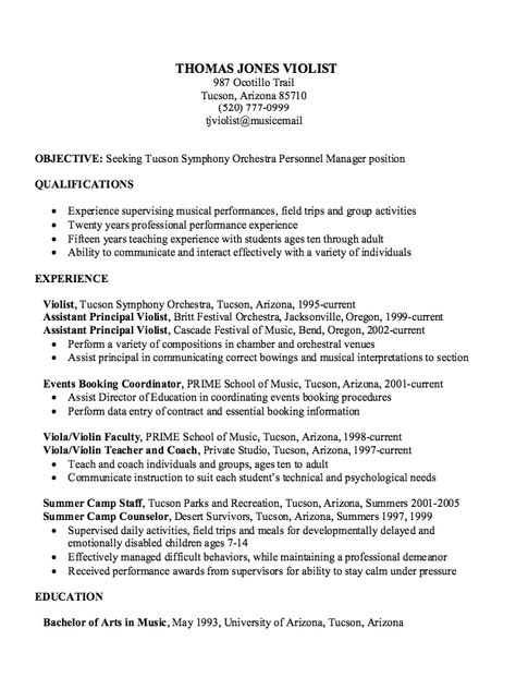 Sample Experience Musician Resume Http Exampleresumecv Org