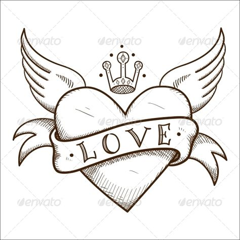 Heart with banner and crown. Sketch vector element for romantic design