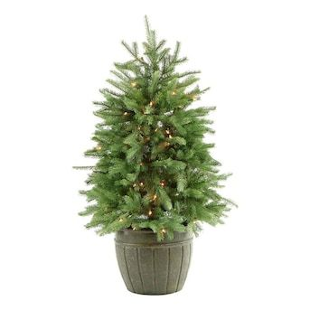 Fraser Hill Farm 4 Ft Pine Pre Lit Traditional Artificial Christmas Tree With 100 Multi Function White Clear Incandescent Lights Lowes Com Best Artificial Christmas Trees Potted Christmas Trees Artificial Christmas Tree