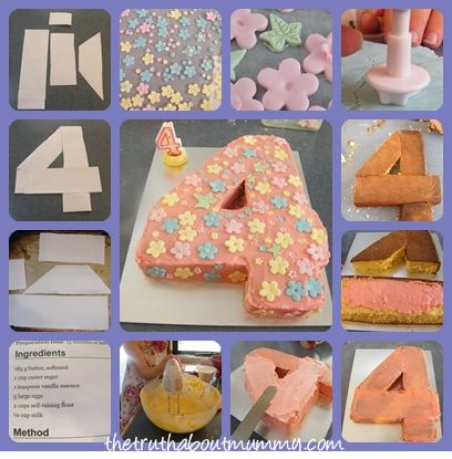 How To Make A Number Four Birthday Cake 4th Birthday Cakes Birthday Cake Kids Birthday Cake Girls