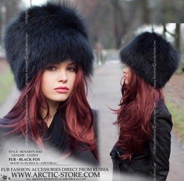Boyaryn Luxe Black Fox Fur Hat Russian Style Hat Hat Hairstyles