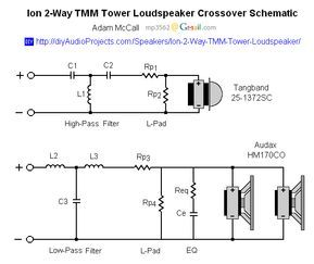 Crossover Schematic - Ion 2-Way TMM Tower Loudspeaker ... on