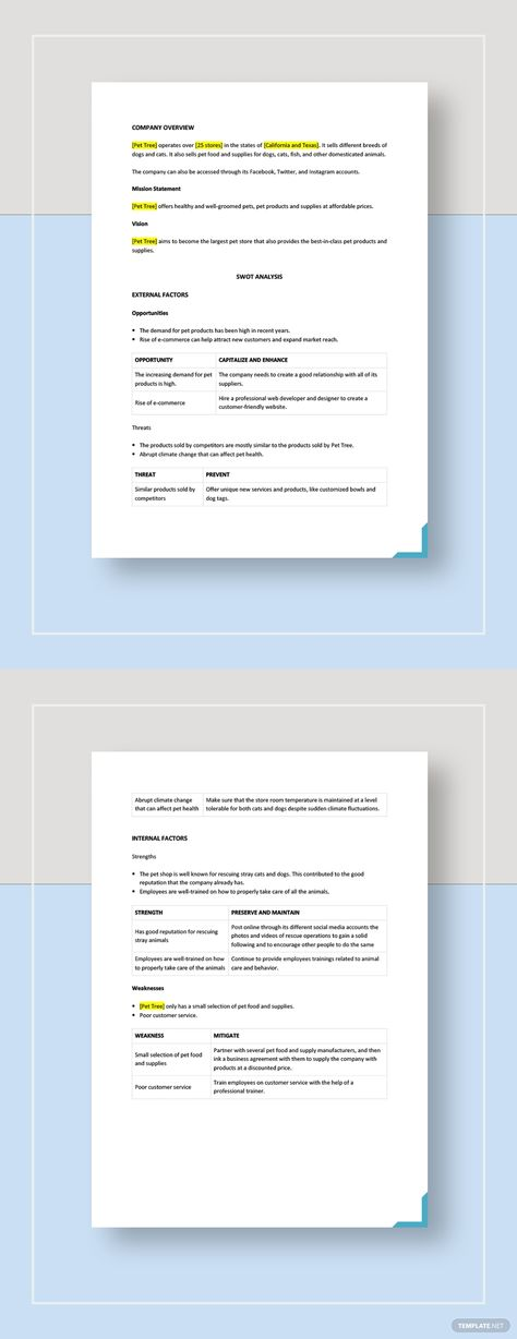 Pet Store Swot Analysis Template Word Doc Apple Mac Pages Google Docs Swot Analysis Template Swot Analysis Analysis