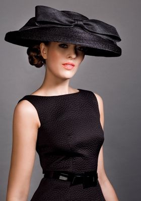 Royal Milliner Rachel Trevor-Morgan London - Black Italian straw cut through hat with straw fabric bow