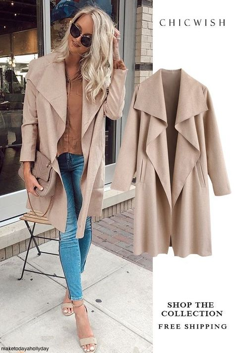 I like this jacket, paired with jeans and boots. Casual Free Myself Open Front Wool-Blend Coat in Sand