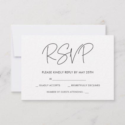 Modern Minimalist Wedding Rsvp Card Zazzle Com Rsvp Wedding