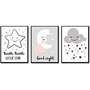 Jeu de 3 posters pour chambre de b/éb/é denfant Sans cadre Fille ou gar/çon Image imprim/ée pour enfant Image imprim/ée pour enfant