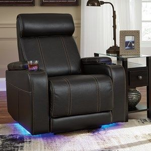 Faux Leather Power Recliner With Cup Holders Storage Cup Holders Led Lighting Living Room Furniture Recliner Power Recliners Furniture Recliner with cup holder and storage