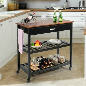 Delesha Multifunction Prep Table With Wood Top In 2021 Kitchen Island Decor Modern Kitchen Island Kitchen Island Design