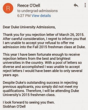 high school student rejects rejection letter, Dear Duke University - thank you email after rejection