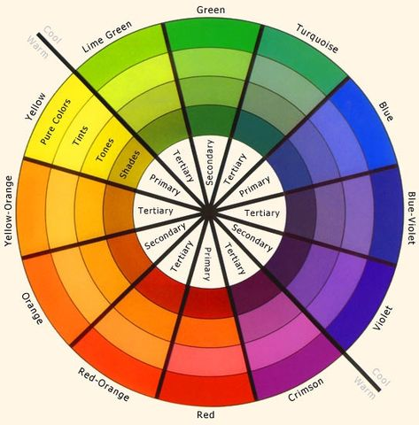 "I like this one for the cool & warm color separation, and the color ""names"", ie..tint, tones, shades, ect.Color Wheel."