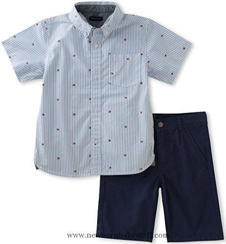 30981440 Baby Boy Clothes Tommy Hilfiger Baby Boys' 2 Pieces Short Set-Logo Printed  Shirt, Blue, 18M