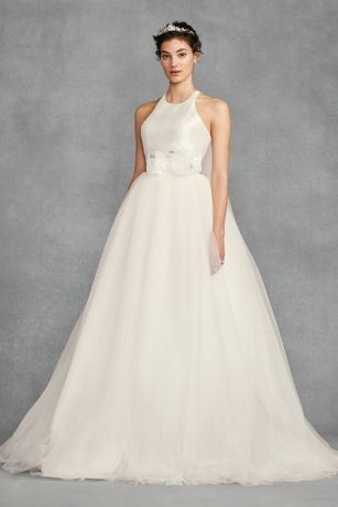 912de471ba7 This White by Vera Wang ball gown combines the romance of a layered tulle  skirt with the modern profile of a racerback mikado bodice.