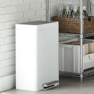 Kohler White 13 Gal Steel Step Trash Can Kitchen Trash Cans