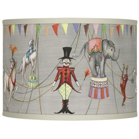 Perfect for a kids room! Circus Time Giclee Lamp Shade from Lamps Plus http://www.lampsplus.com/products/circus-time-giclee-shade-12x12x8-5-spider__j8517-3f076.html#