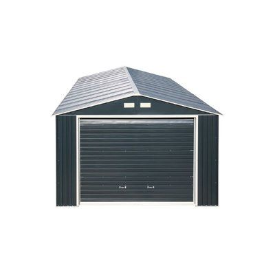 Duramax Imperial 12 Ft W X 20 Ft D Metal Garage Shed Finish Dark Gray White Garage Shed Metal Garages Shed