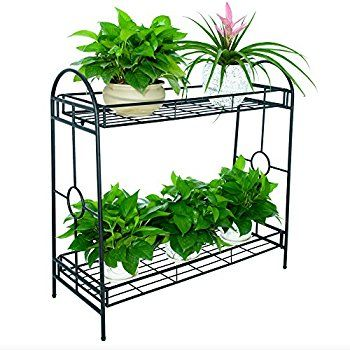 Faithland Steady Metal Plant Stand Flower Pot Shelf Rack Display Holder 2 Tier For Indoor Outdoor Decor Metal Plant Stand Plant Stand Plant Stand Indoor
