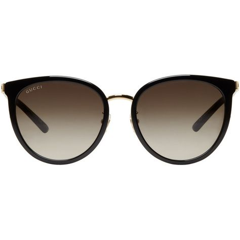 adad5e04635 Gucci Black and Gold Retro Cat Eye Sunglasses (1