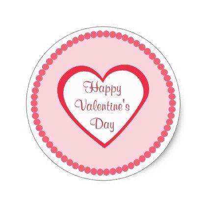 Pink Heart Valentine Classic Round Sticker - Saint Valentine\'s Day ...