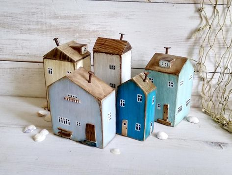 Set of 5 Small Cottages Wooden Village Ornaments for Shelf | Etsy