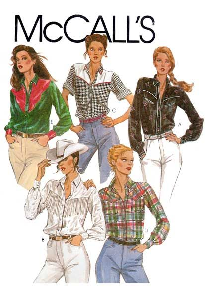 Western Shirt Patterns For Women's : western, shirt, patterns, women's, Women's, Western, Shirt, Sewing, Pattern, Short, Clothes,, Pattern,, Vintage, Knitting, Patterns