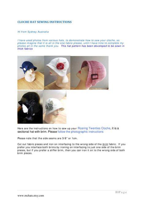 Roaring 20s Cloche hat sewing instructions   Sombreros en tela ...