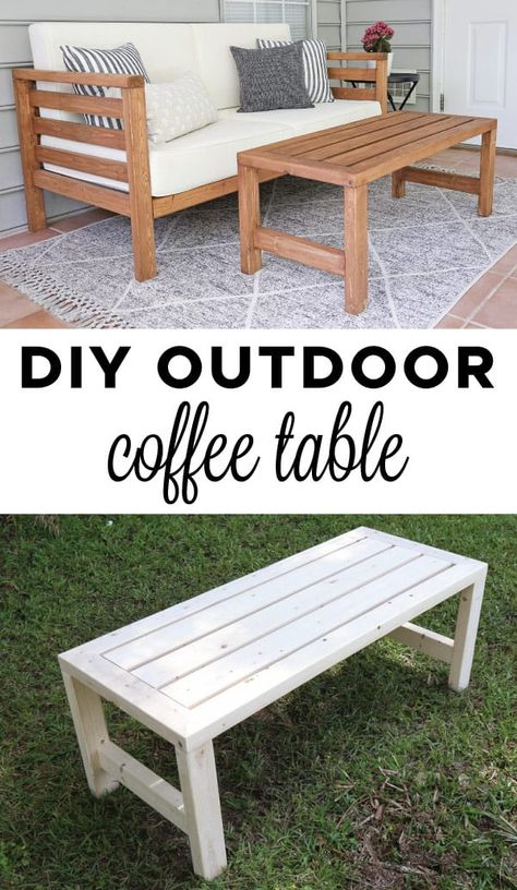 DIY Outdoor Coffee Table – Angela Marie Made - Diy furniture design Outdoor Couch, Outdoor Coffee Tables, Diy Outdoor Furniture, Diy Coffee Table, Diy Furniture Projects, Diy Wood Projects, Diy Table, Home Projects, Patio Table