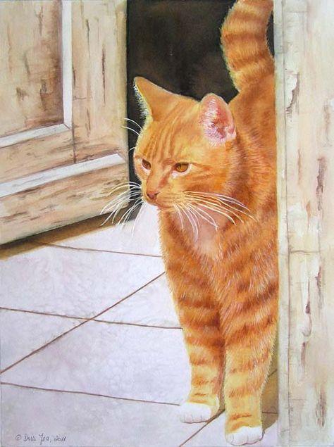 Red Orange Cat Watercolor By Doris Joa Peinture De Chat
