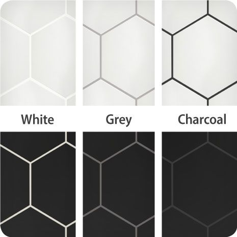These black and white hexagon tiles finished with white, grey and charcoal grout show the impact different colors can have on your tile installation. Upstairs Bathrooms, Downstairs Bathroom, Master Bathrooms, Bathroom Floor Tiles, Black And White Bathroom Floor, Bathroom Tile Designs, Tile For Small Bathroom, White Tiles Black Grout, Bathroom Tile Showers