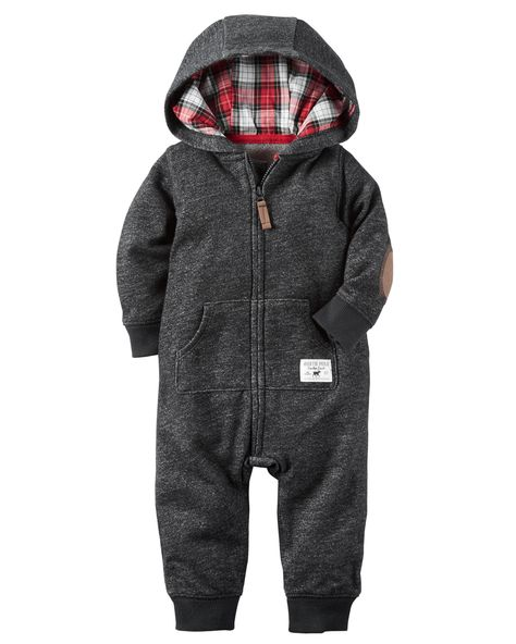 Baby Boy Hooded French Terry Jumpsuit   Carters.com
