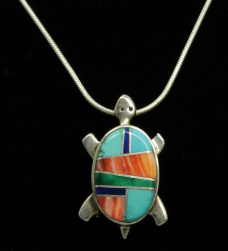 Lynette Ch Zuni Indian Sterling Silver Turquoise and Shell Turtle Charm Pendant