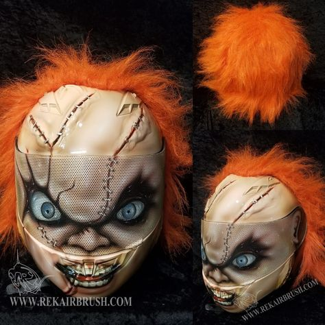 Custom airbrushed Chucky Motorcycle helmet with hair by WWW.REKAIRBRUSH.COM