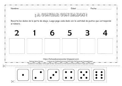 Fichas De Educación Preescolar A Contar Con Dados Ejercicios De Conteo Actividades De Contar Actividades De Conteo Actividades De Matemáticas Preescolares