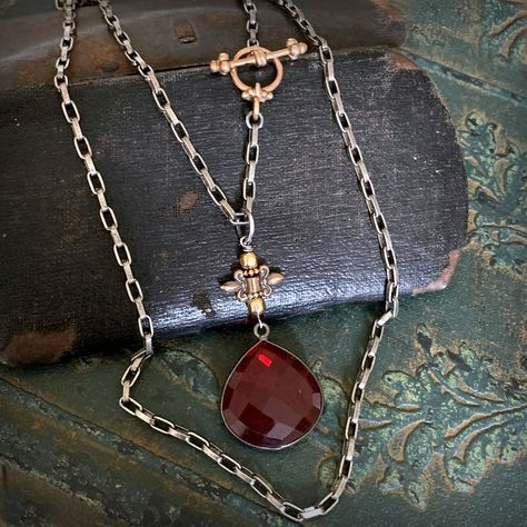 Red Garnet Irish Celtic Trinity Love Knot Claddagh V Collar Necklace For Women 925 Sterling Silver January Birthstone