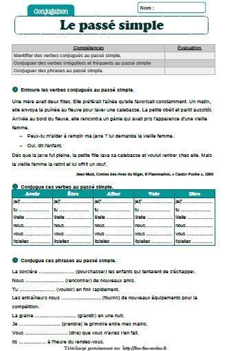 Evaluation Passe Simple Cm1 Cm2 Fee Des Ecoles En 2020 Passe Simple Conjugaison Passe Simple Passe Simple Francais