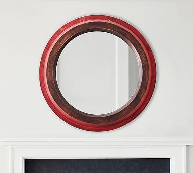Sawyer Round Mirror Red Potterybarn, Red Round Mirror