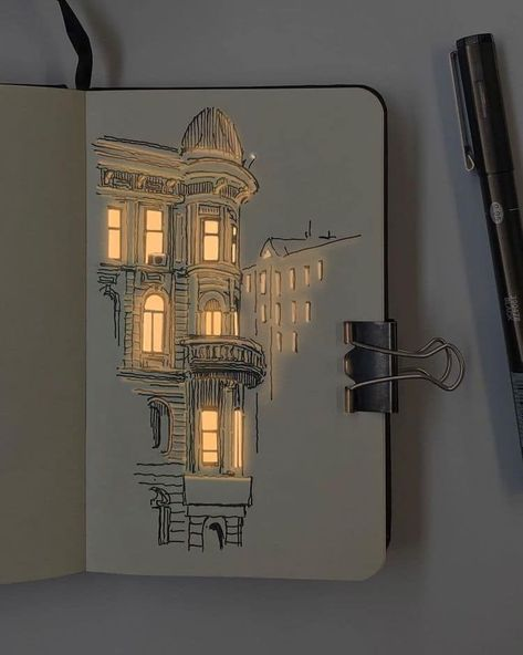 Illuminated Pen and Ink Drawings of Buildings by Nikita White
