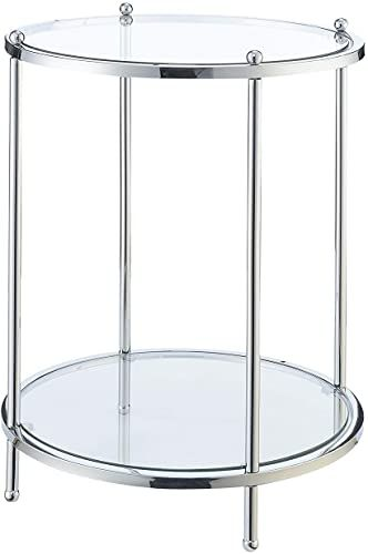 Best Seller Convenience Concepts Royal Crest 2 Tier Round End Table Clear Glass Chrome Online In 2020 End Tables Convenience Concepts Glass End Tables